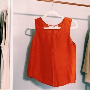 Vintage Bethany Orange Silk Tank Top